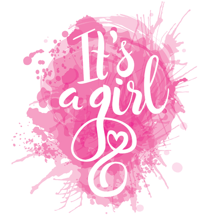 acuarela rosada del vector pegatina con la hoja de oro. letras de la caligrafía Es una chica. Bebé elemento de diseño de la ducha de diseño de la invitación. Ilustración de vector