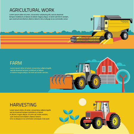 Vector set of agricultural vehicles and farm machines. Tractors, harvesters, combines. Illustration in flat design. Illustration
