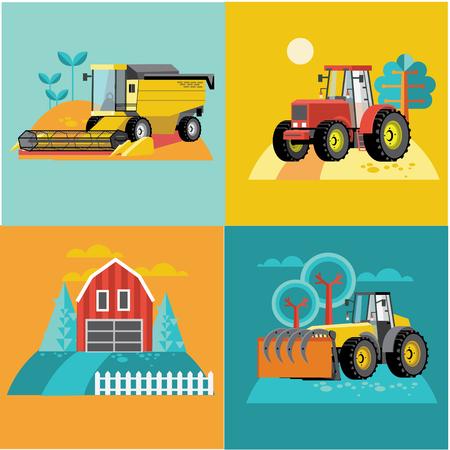 tillage: Vector conjunto de vehículos agrícolas y máquinas agrícolas. Tractores, cosechadoras, cosechadoras. Ilustración de diseño plano.