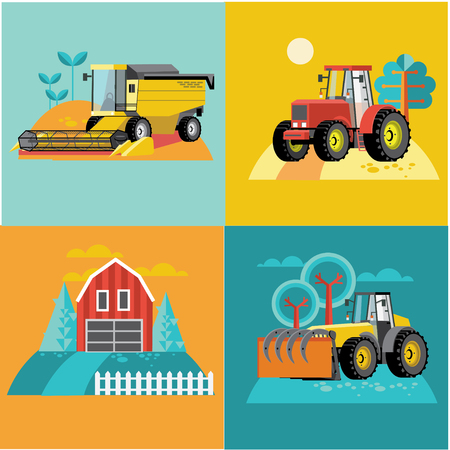 harvesters: Vector set of agricultural vehicles and farm machines. Tractors, harvesters, combines. Illustration in flat design. Illustration