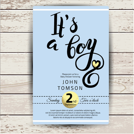 detail invitation: Baby shower invitation with golden detail. Hand lettering its a boy in vector Illustration