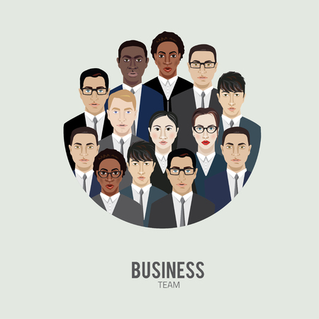 office team: business team. group of office workers, vector illustration Illustration