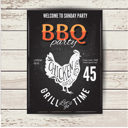 drink food: Barbecue party invitation. BBQ brochure menu design