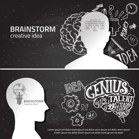 creative brain: Set of thinking doodles elements vector illustration hand drawn. Vector banners