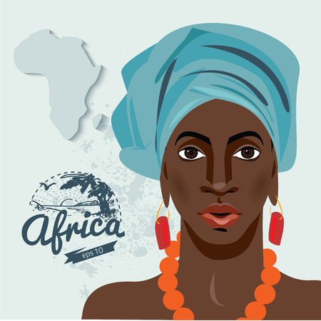 Retrato de la hermosa mujer africana con el pendiente (ver perfil) Ilustración de vector