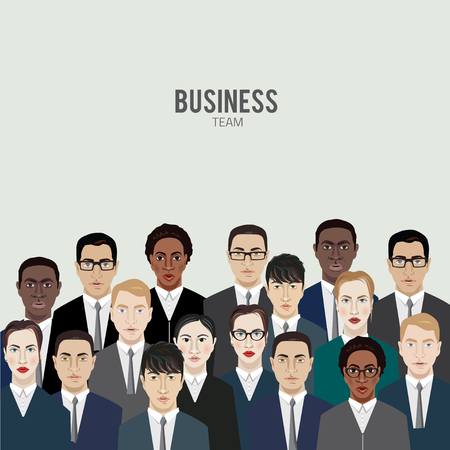 asian manager: business team. group of office workers. vector illustration clipart in simple style