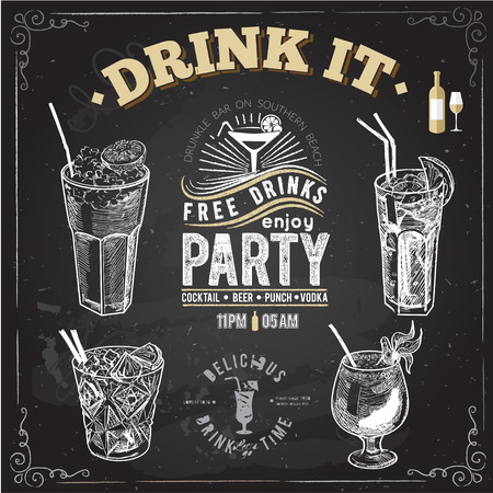 Hand drawn sketch set of alcoholic cocktails. Vector illustration. Chalkboard background.