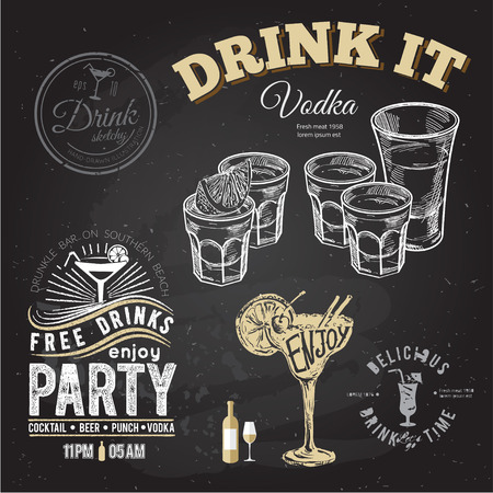 shots: Set of gold tequila shot with lime fruits isolated on chalkboard typographic background.
