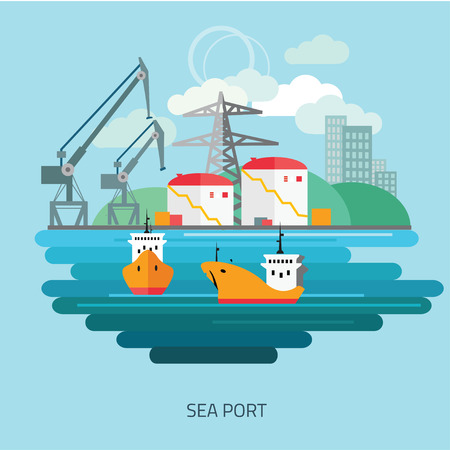 to unload: Container cargo ship loaded by harbor crane in the town port dock. Naval transportation concept. Vector flat style illustration.