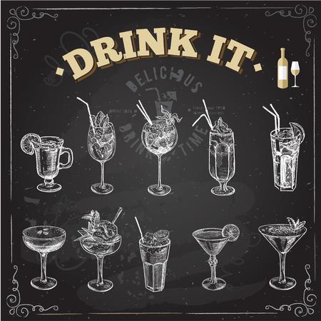 alimentos y bebidas: Bosquejo a mano conjunto de cócteles sin alcohol. Ilustración del vector. Fondo de la pizarra.