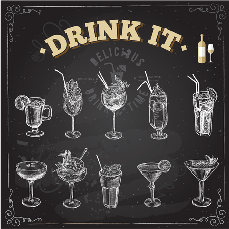 sketch drawing: Hand drawn sketch set of alcoholic cocktails. Vector illustration. Chalkboard background.