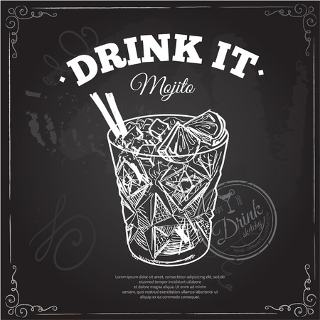 aperitif: Cocktail with cola and limes isolated on chalkboard typographic background