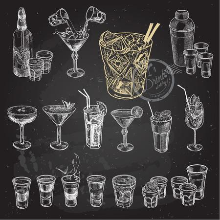 Schizzo disegnato a mano set di cocktail alcolici. Illustrazione vettoriale. sfondo lavagna.