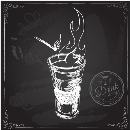 by shot: Shot glass with fire. Hand drawn illustration Illustration