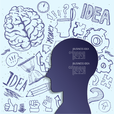 creative arts: Creative brain Idea. Vector concept. Textured background. Sciences and arts. . Left and right brain functions.