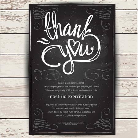 THANK YOU card design. Lettering illustration.