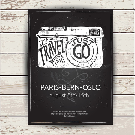 reise retro: Reise Foto Hintergrund mit Retro-Kamera und Sehenswürdigkeiten Karten Vektor-Illustration Illustration