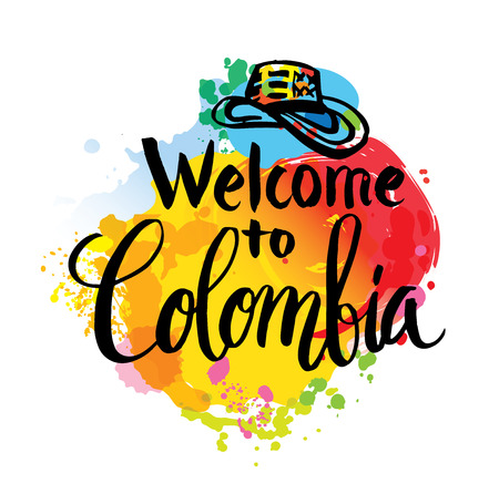 latin americans: Hand lettering logo with watercolor elements. Vector illustration independence day of Colombia. Illustration