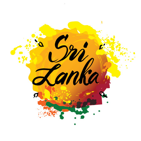 Stamp or label with the name of Sri Lanka, flag colors, vector illustration