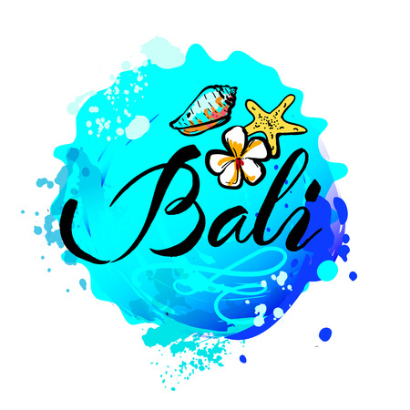 Welcome to Bali concept in vintage graphic style for t-shirt and other print production on white background, vector illustration Illustration
