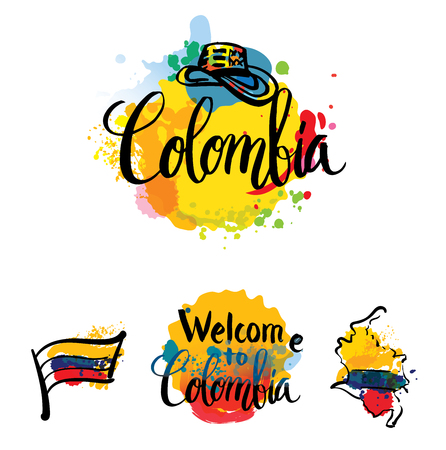 Hand lettering logo with watercolor elements. Vector illustration independence day of Colombia. Vettoriali