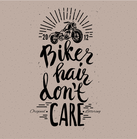 don't care: Motorcycle rider with retro racer helmet. Biker hair dont care. T-shirt graphics. Vintage style. Vectors.