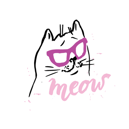 cat cute in glasses illustrationT-shirt GraphicsHand drawn lettering Meow Illustration