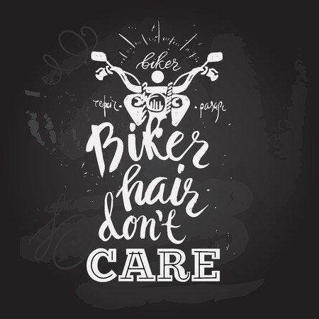 don't care: Motorcycle rider with retro racer helmet. Biker hair dont care. T-shirt graphics. Vintage style chalkboard. Vectors.