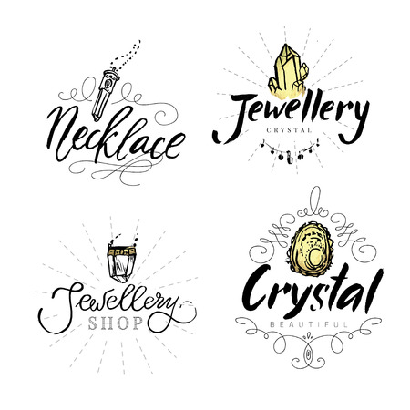 gems: Jewelry label with watercolor elements. Geometric polygonal crystals hand drawn isolated on white background. Geometric shapes. Best for jewellery shop.
