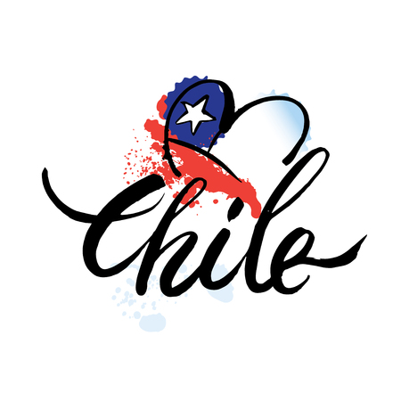 Vector logo Chile, national state flag, symbol republic of Chile.hand lettering and colorful watercolor elements background. Vector illustration hand drawn isolated.