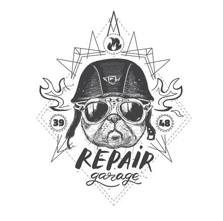 Biker pug dog. Set of vintage motorcycle emblems, labels, badges,