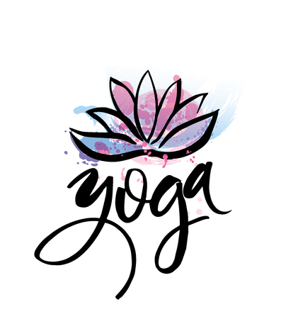yoga meditation: Logo for yoga studio or meditation class. Spa logo design watercolor elements. Meditation concept.