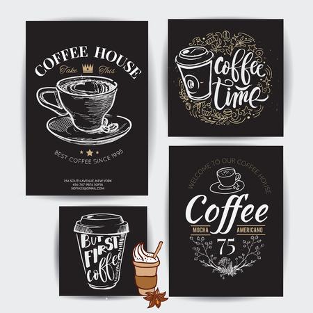 """""""Koffietijd"""" Hipster Vintage Gestileerde Lettering. Vectorillustratie"""