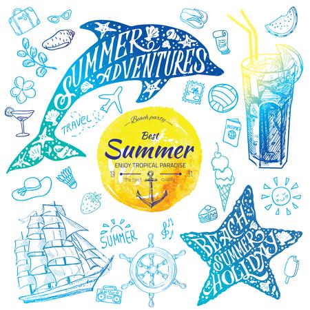 De waterverfbanners van de de zomervakantie met tropische bloemen en de zomergroeten - vectorillustratie Vector Illustratie