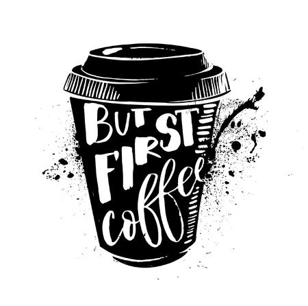 Ok, but first coffee. Coffee break. Lettering on cup shape set.