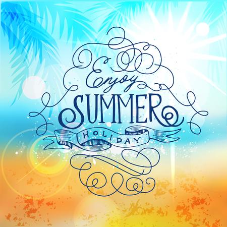sea shore: Enjoy summer holiday, Beach Poster. Abstract Blur of Sea Shore Shot in Manual Mode with Bokeh