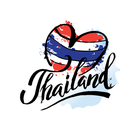 A vector illustration of hand drawn elements for traveling to Thailand, concept Travel to Thailand. Lettering logo Ilustração