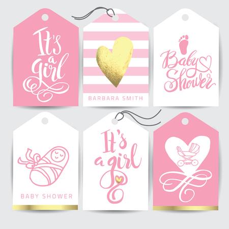 벡터 핑크 스티커 세트 그 여자입니다. 서 예 글자 베이비 샤워입니다. 초대장 디자인 요소입니다.