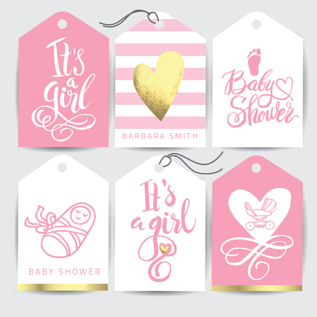 Vector pink sticker set Its a girl. Calligraphy lettering Baby shower. element for invitation design.