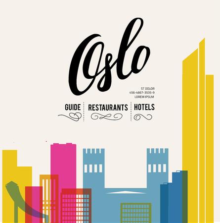 Oslo Norway skyline with panorama in white background. Vector Illustration. Ilustração