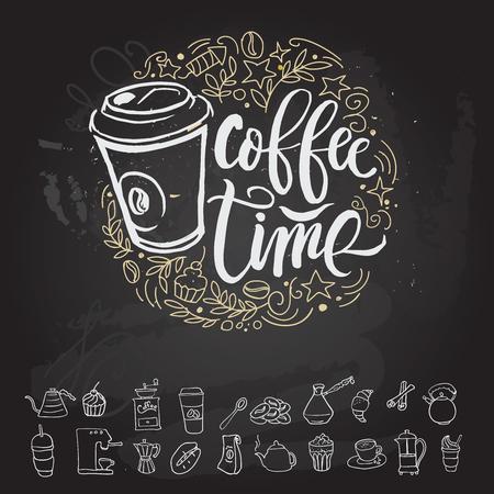 커피 시간 Hipster 빈티지 양식에 일치시키는 글자. 벡터 일러스트 레이션