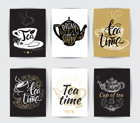 Set of tea pot silhouettes with quotes. Tea party set. Tea time. Cup of tea. Tea posters and prints. 向量圖像