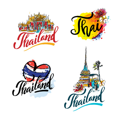 A vector illustration of hand drawn elements for traveling to Thailand, concept Travel to Thailand. Lettering logo set Vectores
