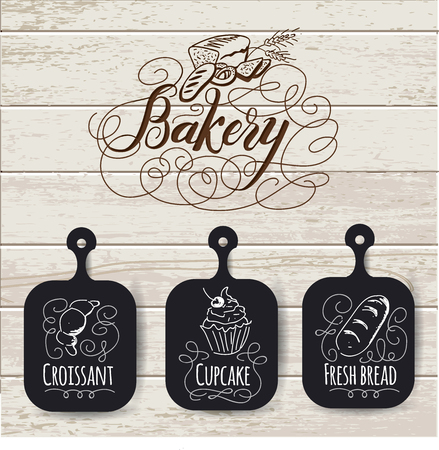Bakery menu design and bakery hand drawn vector illustration. Retro cover restaurant menu template