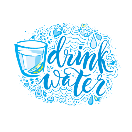 Drink meer water. Hand getrokken typografie poster. T-shirt hand van letters voorzien kalligrafisch ontwerp. Inspirerende vector typografie.