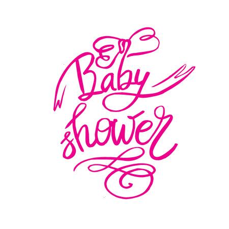 소녀를위한 베이비 샤워 텍스트. 맞춤형 레터 핑크 아기 도착을위한 초대장. 일러스트