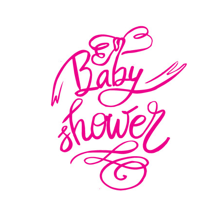 Baby Shower text for girl. Custom lettering pink Invitation for baby arrival. Vectores