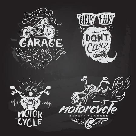 Set of vintage motorcycle emblems, labels, badges,