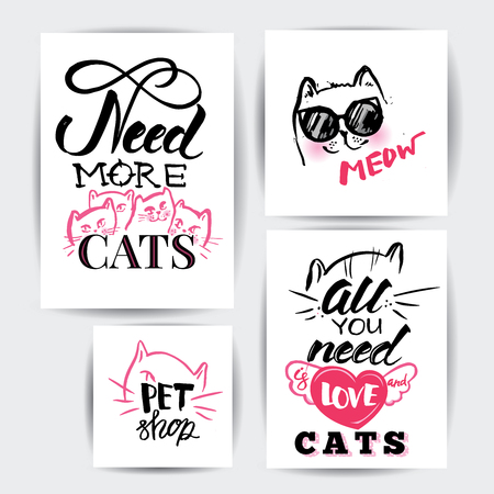 Cat illustration. Banner set