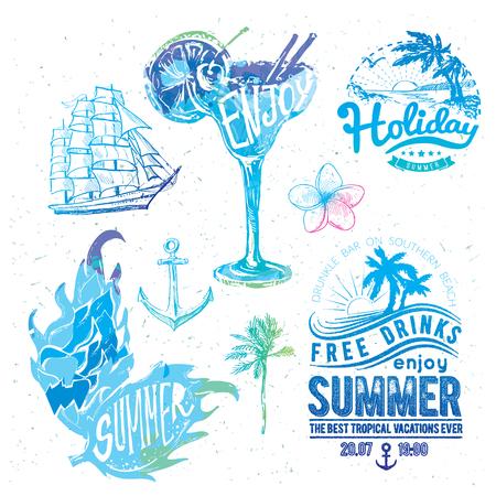 Vintage summer typography design with labels.